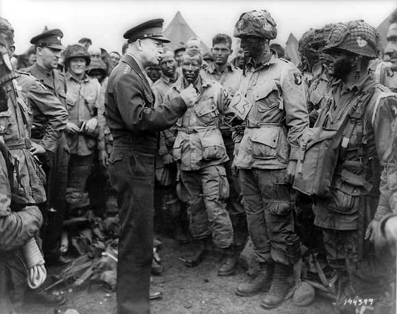 Ike speaks to Easy Company, 502nd PIR on June 5th, 1944.