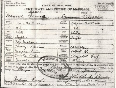 1917 New York Marriage Certificate
